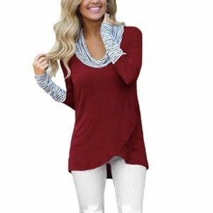 Leo Rosi Women'S Shelly Cowl Neck Top. Red Medium
